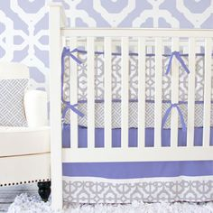 Lavender and Grey Mod Baby Bedding from PoshTots