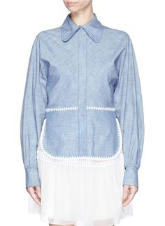 CHLOÉ Crochet trim cotton chambray shirt