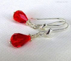 Red Crystal Heart Earrings Silver Heart Earwires by DesignsbyCher