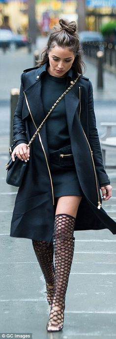 Olivia Culpo steps out in mesh thigh-high boots in New York as she prepares to host Met Gala red carpet   Daily Mail Online