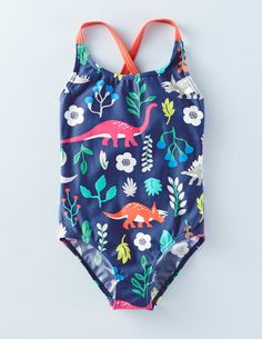 Dig all the way to London and we promise you a free ice cream. Pretty and comfortable swimsuit. Fast-drying stretch nylon with lovely new prints. Our swimwear fabric provides UPF 50+.