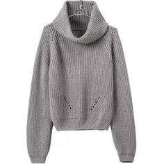 Turtleneck Crop Grey Sweater (364000 BYR) ❤ liked on Polyvore featuring tops, sweaters, grey, grey cowl neck sweater, long sleeve crop top, acrylic sweater, loose crop top and gray turtleneck sweater