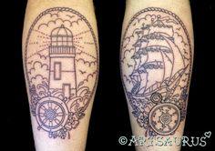 Ships Wheel Tattoo - LiLz.eu - Tattoo DE    Lighthouse and helm, ship and compass