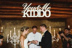 'You & Me Kiddo' ceremony sign | SouthBound Bride www.southboundbride.com/charming-country-roodezand-wedding-by-welovepictures-lee-ann-mark Credit: welovepictures