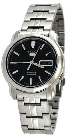 Seiko Men's SNKK71 5 Stainless Steel Black Dial Watch ** Want to know more, click on the image.