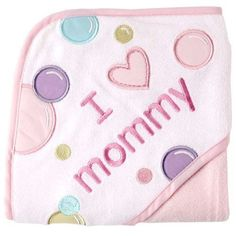 Luvable Friends I Love Family Hooded Towel Pink Mommy Baby Bath Towels New