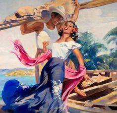 Gracia costeña. Detalle = Coastal Grace Detail by Eduardo Cataño 1956 Mexican Artwork, Mexican Paintings, Mexican Folk Art, Mexican Pictures, Jesus Helguera, Colombian Culture, Latino Art, Caribbean Art, Mexican American