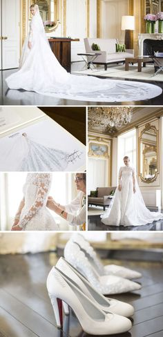 The dress featured a high neck, long train and lace sleeves, and was paired with a dramatic lace veil