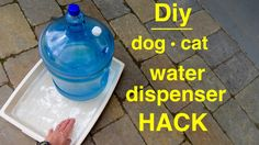 Here's an easy-to-make large self filling water tray using a water dispenser bottle that will keep your pet hydrated for days. Make this automatic dog wateri...