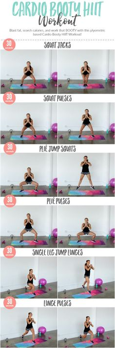 Super Quick 5 Minute Cardio Booty HIIT Workout that burns fat and calories while toning your legs and butt. Super Quick 5 Minute Cardio Booty HIIT Workout that burns fat and calories while toning your legs and butt. Fitness Workouts, Workout Cardio, Fitness Motivation, Fitness Tips, Butt Workouts, Glute Exercises, Tabata, Workout Plans, Workout Tips