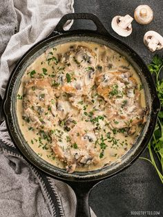 Simple pan sauces save the day in this quick and easy Creamy Garlic Mushroom Chicken! BudgetBytes.com