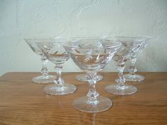Vintage Champagne Glasses Etched Crystal Coupes Set of 6 Tiffin on Etsy, $62.00