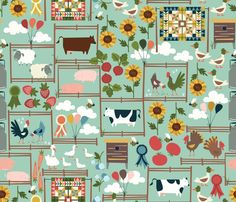 Welcome to the Fair fabric by oliveandruby on Spoonflower - custom fabric