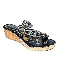 Look what I found on #zulily! Black Floral Bead Embroidered Sandal #zulilyfinds