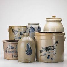 SALT GLAZE STONEWARE  	      	                  Six pieces, 19th/20th c: blue decorated four gallon crock with bird, blue decorated John Jamison, Philadelphia crock, blue decorated jug, etc.; Unmarked; Tallest: 13 1/2""