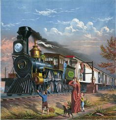 """The Fast Mail"" ~ This illustration shows a woman and two boys looking on as a steam locomotive passes by delivering and receiving mail. From the Library of Congress collection, ca. 1875."