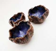 Salt Cellars Set 3 Scrunchy Nutcups Small Wrinkled by bazketmakr