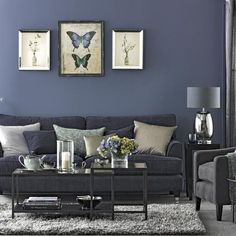 Living room in shades of navy and grey | Ideal Home | Housetohome.co.uk...