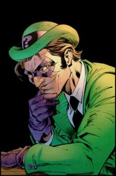 Riddle me this. Riddle me that? The Riddler * DC Comics villain who speaks in riddles. He first appeared in Detective Comics as an enemy of Batman. Comic Book Villains, Gotham Villains, Comic Book Characters, Comic Character, Comic Books, Comic Art, Dc Comics, Batman Comics, Al Ghul