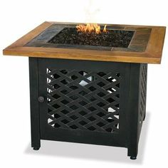 UniFlame 32 in. W Square Slate Tile Faux Wood Mantle LP Gas Fire Pit with Electronic Ignition and Bronze Fire Glass, tile & wood mantel/ steel base Outdoor Propane Fire Pit, Gas Fire Pit Table, Outdoor Heaters, Indoor Outdoor, Outdoor Living, Outdoor Decor, Outdoor Projects, Outdoor Ideas, Outdoor Spaces