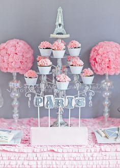 Paris dessert table - love the Paris themed Bridal shower!