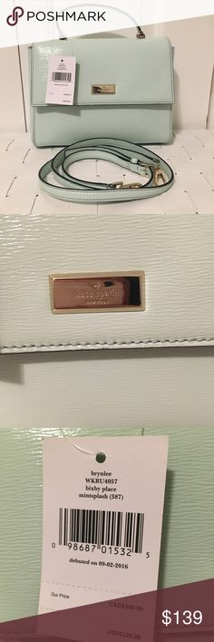 NWT Kate spade Bixby place brynlee Crossbody bag Brand new with tags Never used Kate spade Bixby place brynlee Crossbody bag Mint color (patent leather) - mint splash color Detachable Crossbody strap Can be worn as a satchel kate spade Bags Crossbody Bags