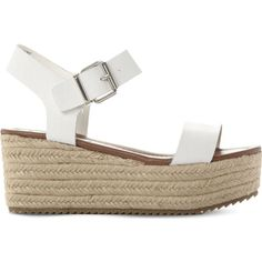 STEVE MADDEN Surfa espadrilles leather platform sandals ($84) ❤ liked on Polyvore featuring shoes, sandals, platform sandals, platform espadrilles, leather espadrilles, flatform sandals and steve madden sandals