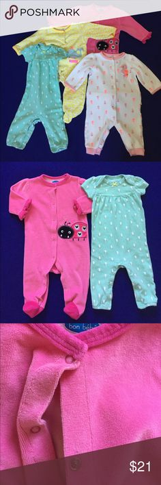 Lot of 4 Footed and Footless Onesies Girl Baby Lot of 4 onesies for a girl. Pink ladybug is Bon Bébé size 3-6M, footed. Yellow one is Just One You Carter's size 6M, footed. White seahorse is Just One You Carter's size 6M, footless. Green seahorse is Carter's size 6M, footless. No stains or tears except for the tiny mark between two buttons on the lady bug one (see pic). Carter's Bottoms Jumpsuits & Rompers