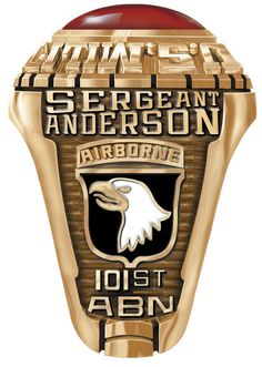 Army Rings custom made for the 101st Airborne. Put your name and dates here to create a perfect #military heirloom and gift. #airborne