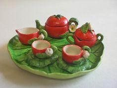 Tiny decorative dollhouse miniature teaset~TOMATO TEA SET~CUTE