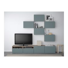 BESTÅ TV storage combination, walnut effect light gray, Valviken gray-turquoise walnut effect light gray/Valviken gray-turquoise 240x20/40x204 cm drawer runner, push-open