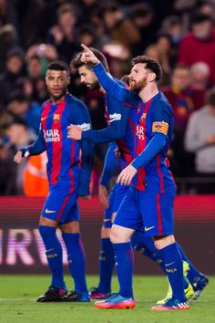 Lionel Messi of FC Barcelona celebrates after scoring the opening goal during the La Liga match between FC Barcelona and RC Celta de Vigo at Camp Nou stadium on March 4, 2017 in Barcelona, Catalonia.