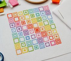 Geometric Squares Cross Stitch Kit - Modern and Original Easy Cross Stitch on 14 Count Aida with DMC Thread