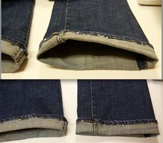 How to hem jeans and keep the original bottom.