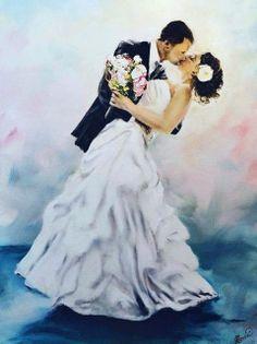 Wedding Scene, Wedding Art, Wedding Images, Wedding Pictures, Wedding Bride, Dream Wedding, Wedding Topper, People Illustration, Painting Edges