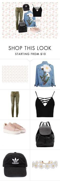 """Daisy Chains, Khaki Jeans"" by hollynagle on Polyvore featuring Balmain, Boohoo, Witchery, adidas and Humble Chic"