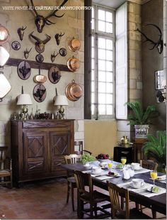 Chateau de Montgeoffroy. Easter brunch. A thrill to be in this room for breakfast. One of France's most beautiful houses.