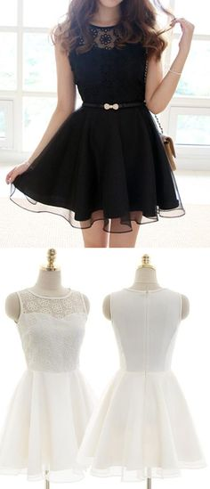 black short homecoming dresses, simple short prom dresses, white party formal dress with lace