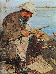 Отец на рыбалке. Этюд (1913). Николай Фешин