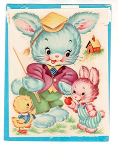 Vintage Children's Decal Bunny Family with chick