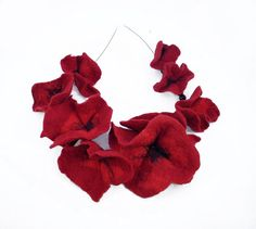 Felted Collar felt Poppies Necklace Poppy art jewerly by filcant, $59.00