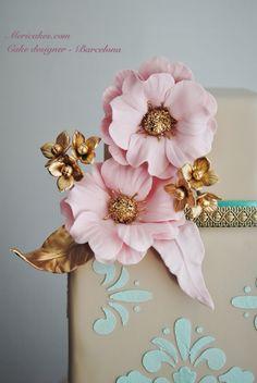 Versailles, cake, weddingcake, bridal, pastel, tarta, sugarcraft, fondant, flores, hortensias, mericakes, boda, fondant. (2)