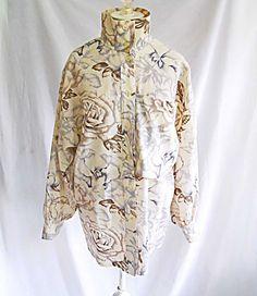 45f842c07ae843 Vintage Escada Shirt Dress Coat Tunic Deadstock Beige Floral Print NOS Wool  34