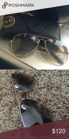 RAY BAN AVIATORS 100% authentic. Ray-Ban aviators. great used condition. has one small scratch on the left side but hardly noticeable. comes with case. GOLD FRAME/ BROWN GRADIENT LENSE Ray-Ban Accessories Glasses