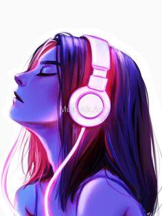 """Music is all I need "" T-shirt by Banasdesign Cute Cartoon Girl, Cartoon Girl Drawing, Anime Girl Drawings, Anime Art Girl, Cartoon Art, Music Drawings, Cute Drawings, Animal Drawings, Beautiful Fantasy Art"