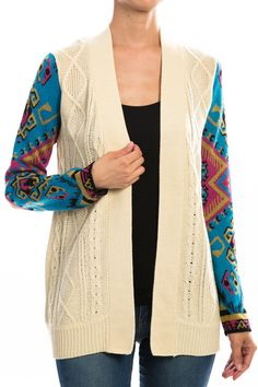 Patterned Print Sleeve Knit Sweater