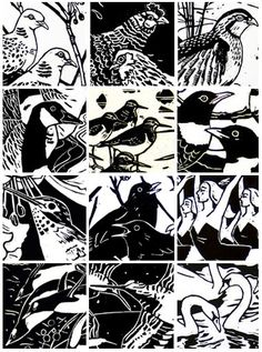 Ann Lewis Artist Printmaker Printmaking Ideas Linoprint Bird Prints Woodblock Print