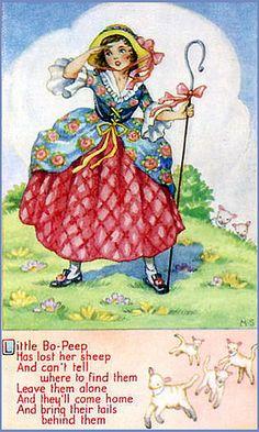 Little Bo Peep vintage postcard