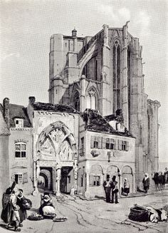 Black and white paintig by T. S. Boys of the unfinished Abbey of St. Amand, with people on the street before it.