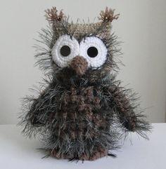 OWL OOAK 7 inch Stuffed animals Soft toy Crochet Handmade Amigurumi. Made to order.